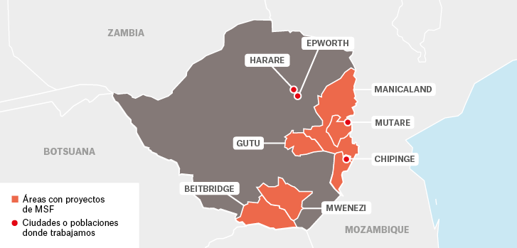 Mapa de los proyectos de Médicos Sin Fronteras en Zimbaue.