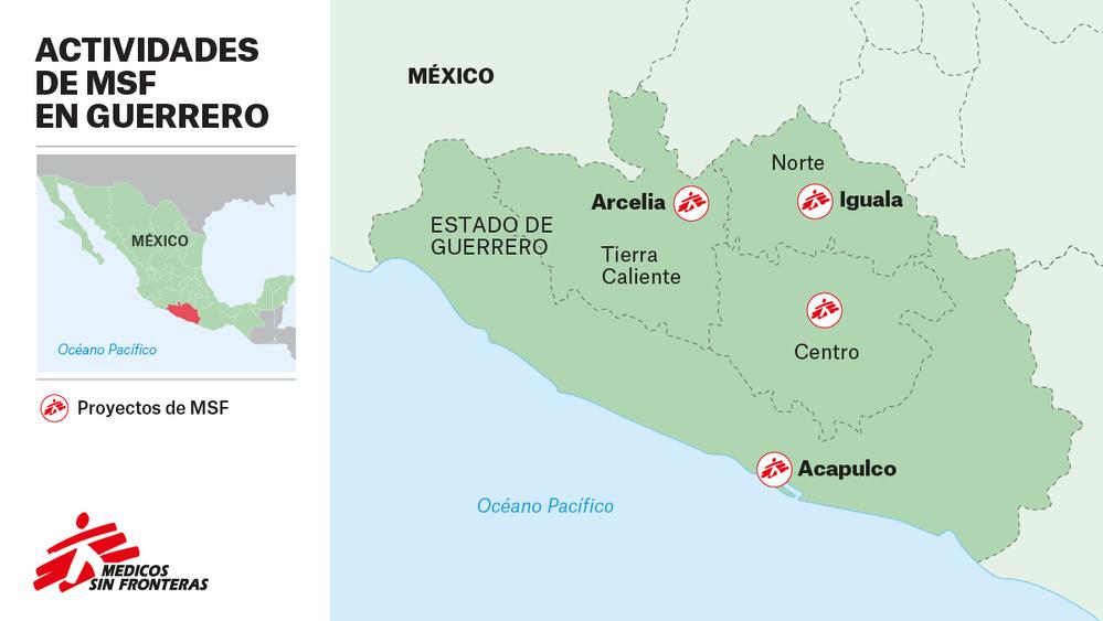 Mapa de actividades en Guerrero (México).