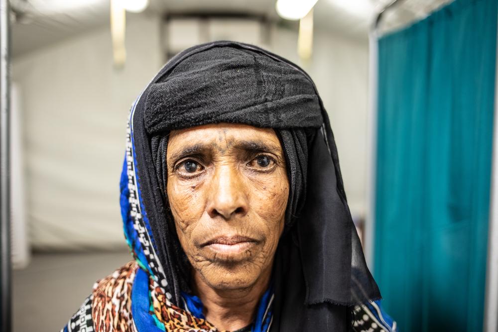 Fatma. Su nieta fue herida por una mina en Yemen.