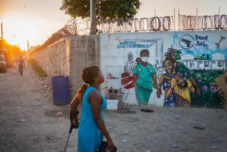 Entrada principal de nuestro hospital en Tabarre. Haití, diciembre de 2020