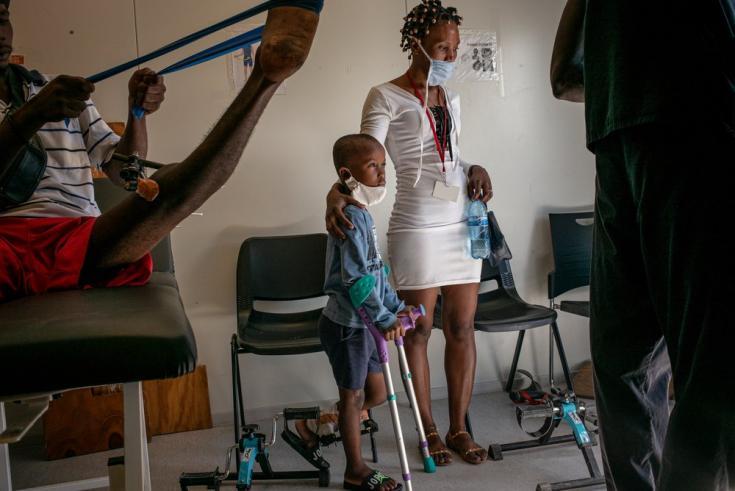 Sala de fisioterapia en nuestro hospital en Tabarre. Haití, diciembre de 2020