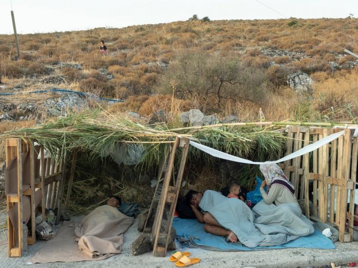 Los incendios en el campo de Moria dejaron a miles de personas sin un techo donde dormir. Isla de Lesbos, Grecia, septiembre de 2020