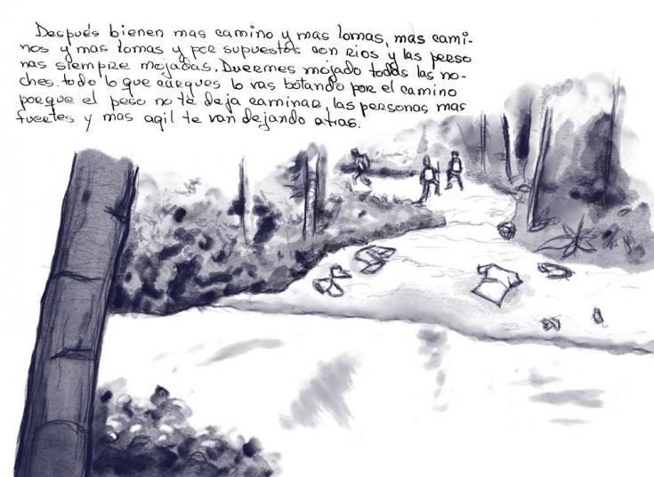 Fragmento de la carta escrita por María, sobreviviente de la ruta migratoria a través de la selva del Darién, junto a una ilustración de su relato.