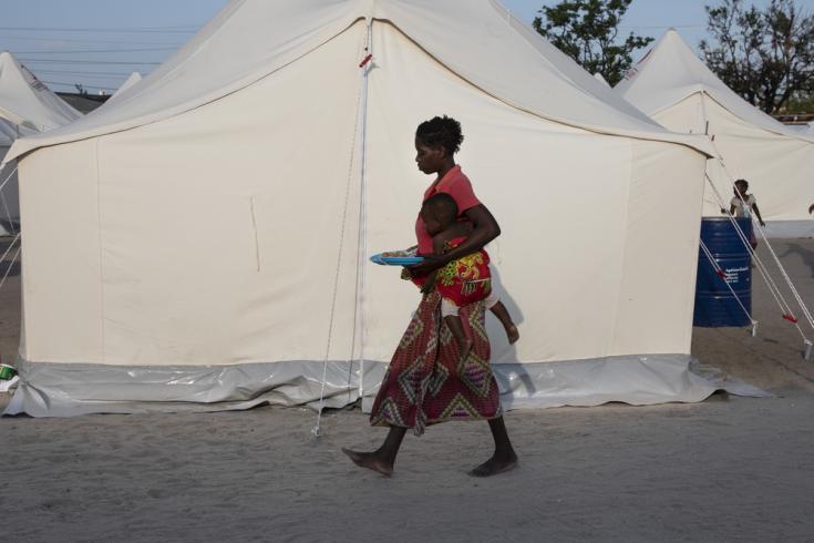Campo de desplazados tras el ciclón en Mozambique