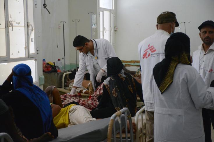 Centro de tratamiento de cólera en Yemen