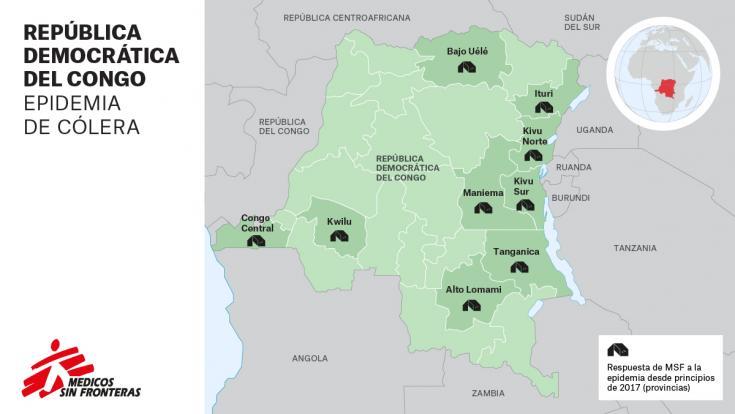 Respuesta de MSF a la epidemia de cólera (desde principios de 2017) en las provincias de República Democrática del Congo. ©MSF