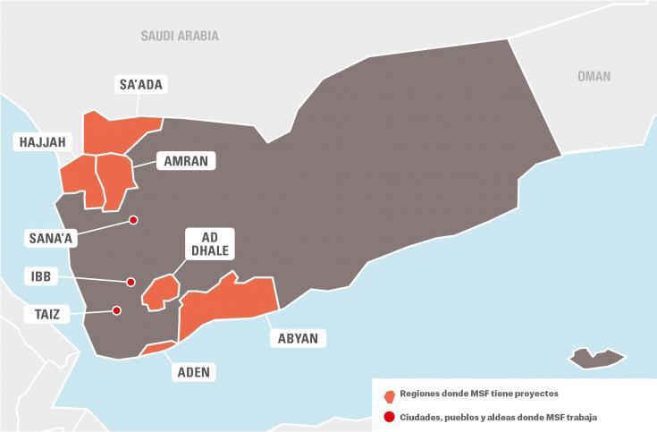 Mapa de Yemen que muestra las regiones donde Médicos Sin Fronteras tiene proyectos y las ciudades, pueblos y aldeas donde trabajan.