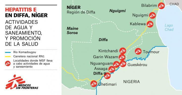 Mapa con los lugares donde MSF está llevando a cabo actividades de agua y saneamiento.