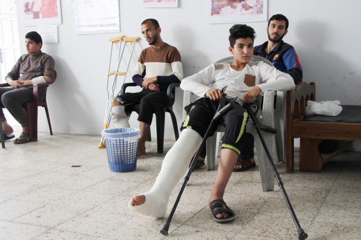 Heridos de bala en la sala de espera (Gaza).