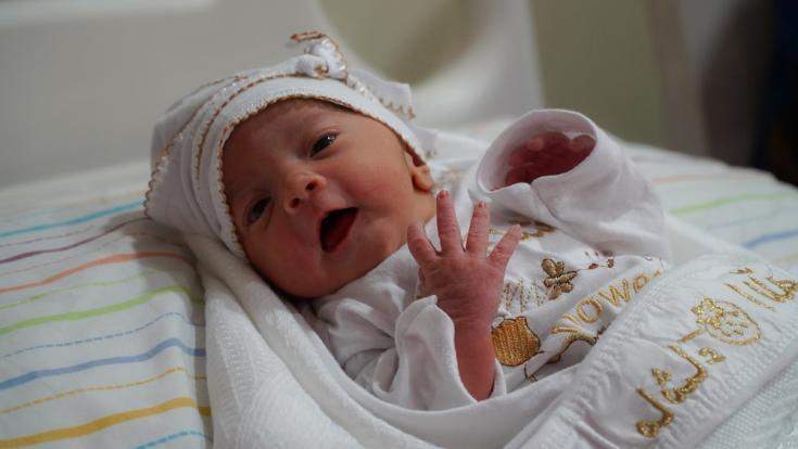 Bebé recién nacido en la maternidad de Naplusa, en Mosul, Irak.