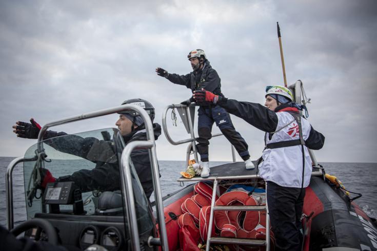 Equipos de Médicos Sin Fronteras y SOS MEDITERRANEE durante un ejercicio de simulación de búsqueda y salvamento en el mar entre Marsella y el Mediterráneo central. Febrero de 2020.