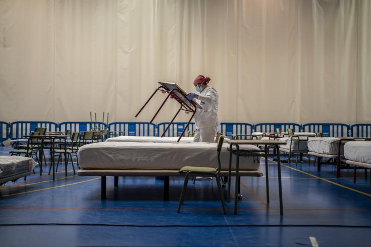 Un hospital creado por MSF para tratar pacientes con COVID-19 en Leganés. Marzo 2020.