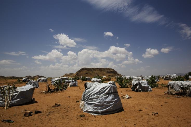 Un campamento recién creado para desplazados internos en la ciudad de Tawila, estado de Darfur del Norte, Sudán occidental.