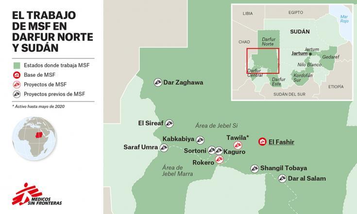 Mapa de ubicación de los proyectos que MSF había estado realizando en Darfur del Norte, Sudán.