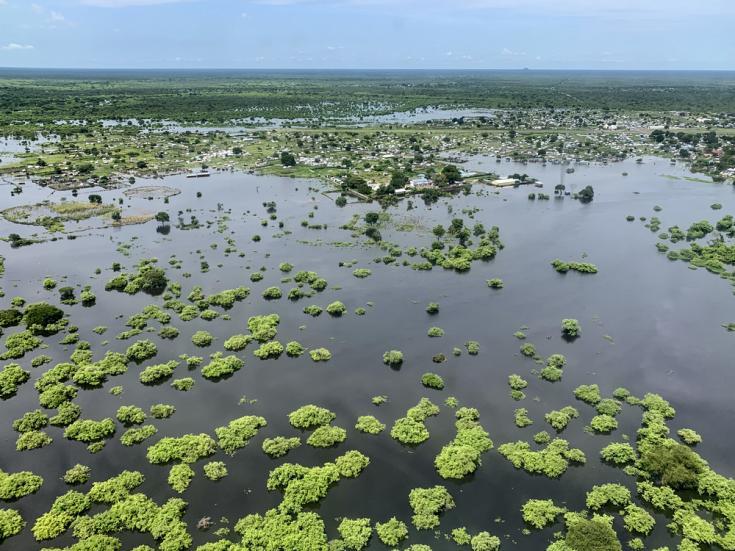 Vista aérea de las inundaciones en Pibor, Sudán del Sur. 4 de septiembre de 2020.