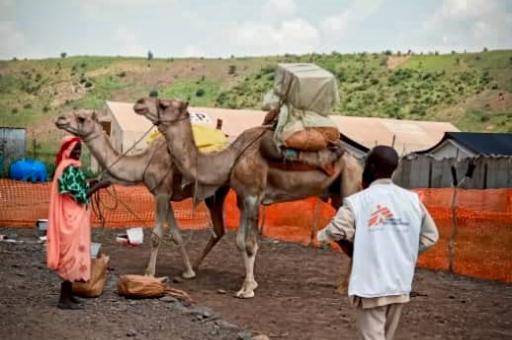 Los camellos llevan los suministros médicos a Umo, Sudán. MSF utiliza camellos para los suministros y materiales más pesados, y burros para transportar personas.
