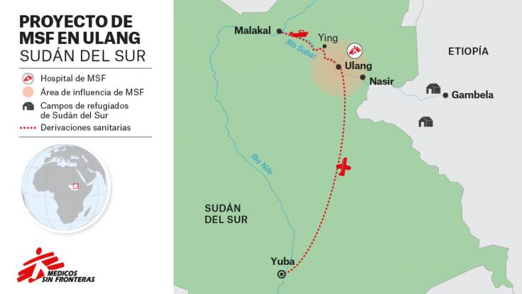Mapa Sudán del Sur proyectos MSF