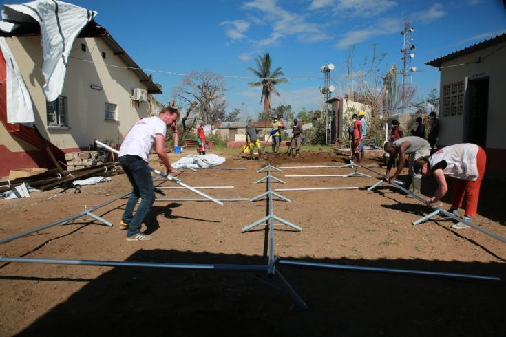 Centro de tratamiento del cólera en Mozambique