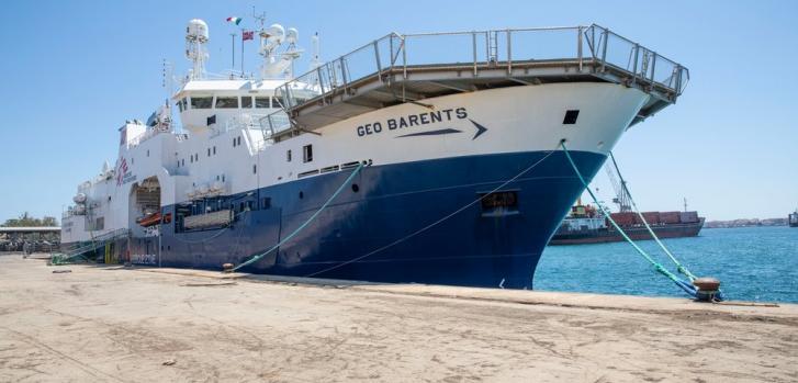 El Geo Barents, nuestro barco de búsqueda y rescate, se encuentra detenido después de 14 horas de inspección por parte de las autoridades italianas en Augusta, Sicilia. Italia, julio de 2021