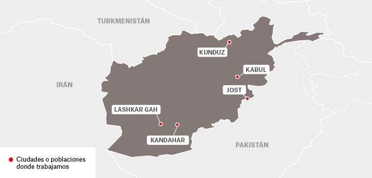 Mapa de los proyectos de Médicos Sin Fronteras en Afganistán.