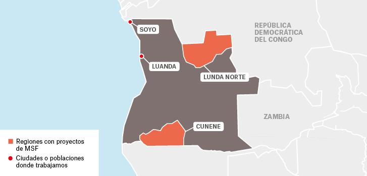 Mapa de proyectos de Médicos Sin Fronteras en Angola : Soyo Luanda Lunda Norte Cunene  República Democrática del Congo  Regiones con proyectos de MSF Ciudades o poblaciones donde trabajamos