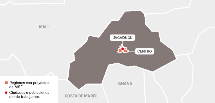 Mapa de proyectos de Médicos Sin Fronteras en Burkina Faso : Uagadugu Centro  Mali Ghana Costa de Marfil  Regiones con proyectos de MSF Ciudades o poblaciones donde trabajamos