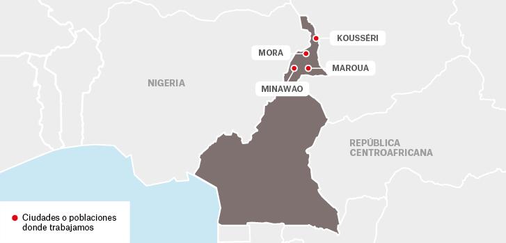 Mapa de los proyectos de Médicos Sin Fronteras en Camerún.