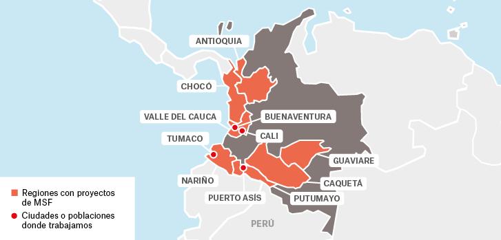Mapa de los proyectos de Médicos Sin Fronteras en Colombia.