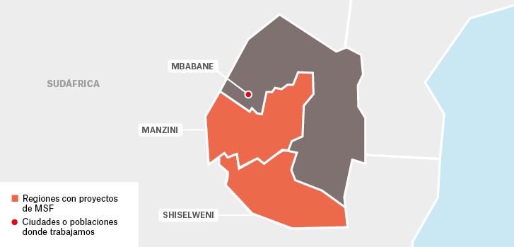Mapa de los proyectos de Médicos Sin Fronteras en Suazilandia.