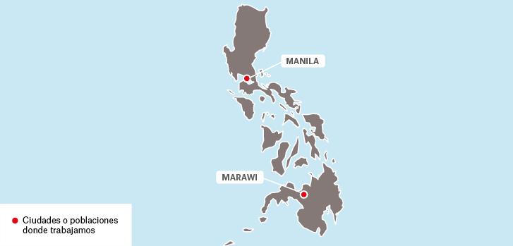 Mapa de los proyectos de Médicos Sin Fronteras en Filipinas.