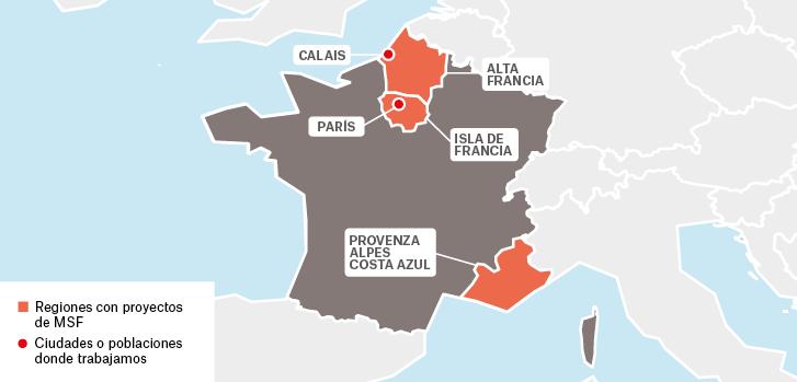 Mapa de los proyectos de Médicos Sin Fronteras en Francia.
