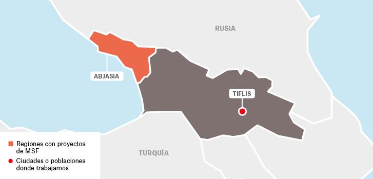 Mapa de los proyectos de Médicos Sin Fronteras en Georgia.