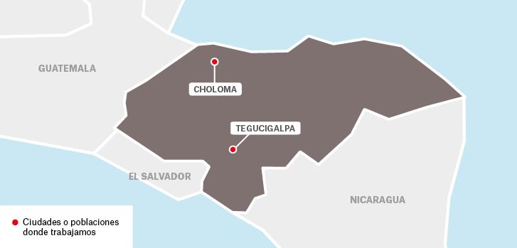 Mapa de los proyectos de Médicos Sin Fronteras en Honduras.