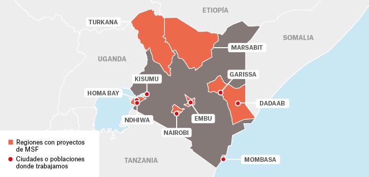 Mapa de los proyectos de Médicos Sin Fronteras en Kenia.