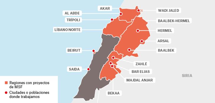 Mapa de los proyectos de Médicos Sin Fronteras en Líbano.