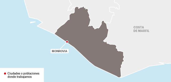 Mapa de los proyectos de Médicos Sin Fronteras en Liberia.