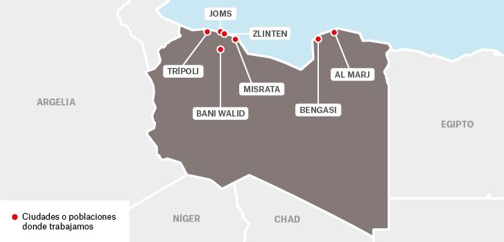 Mapa de los proyectos de Médicos Sin Fronteras en Libia.