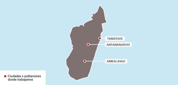Mapa de los proyectos de Médicos Sin Fronteras en Madagascar.