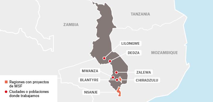 Mapa de los proyectos de Médicos Sin Fronteras en Malaui.