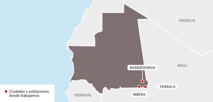 Mapa de los proyectos de Médicos Sin Fronteras en Mauritania.