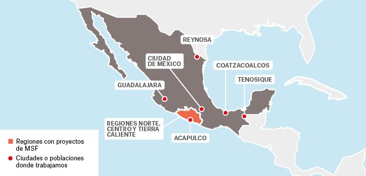 Mapa de los proyectos de Médicos Sin Fronteras en México.