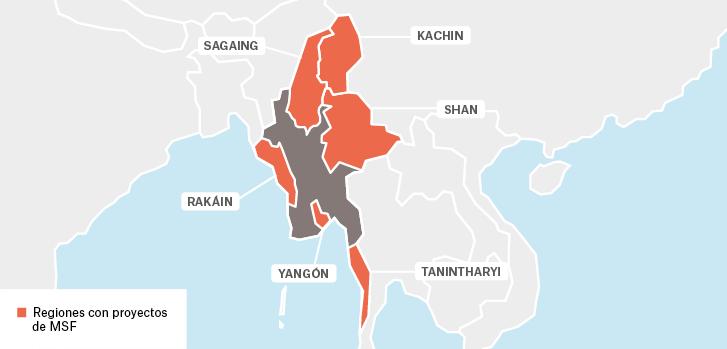Mapa de los proyectos de Médicos Sin Fronteras en Myanmar.