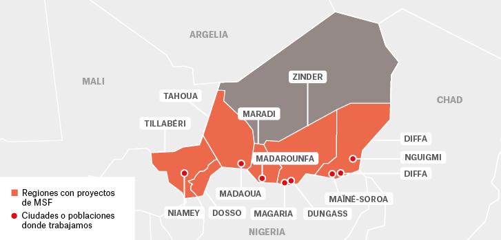 Mapa de los proyectos de Médicos Sin Fronteras en Níger.