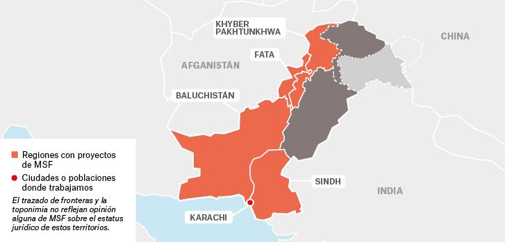 Mapa de los proyectos de Médicos Sin Fronteras en Pakistán.