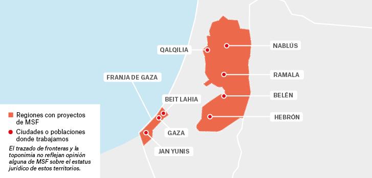 Mapa de los proyectos de Médicos Sin Fronteras en Palestina.