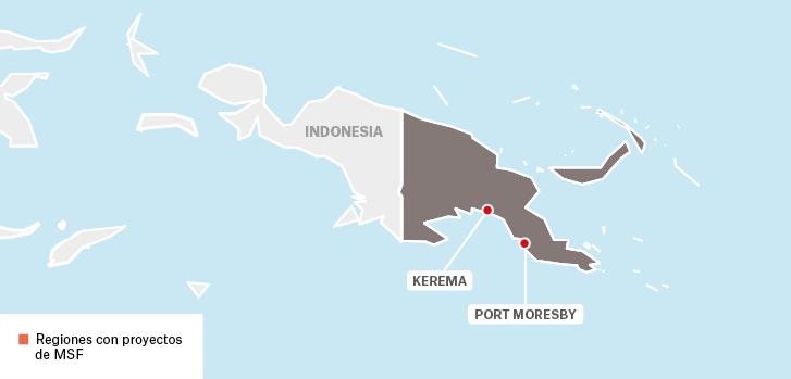 Mapa de los proyectos de Médicos Sin Fronteras en Papúa Nueva Guinea.