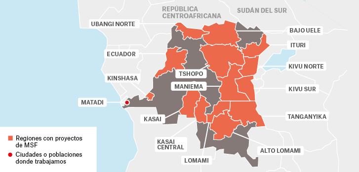 Mapa de los proyectos de Médicos Sin Fronteras en República Democrática del Congo.