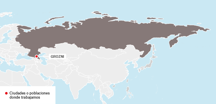 Mapa de los proyectos de Médicos Sin Fronteras en Rusia.