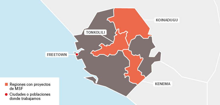 Mapa de los proyectos de Médicos Sin Fronteras en Sierra Leona.