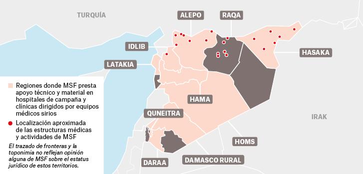 Mapa de los proyectos de Médicos Sin Fronteras en Siria.
